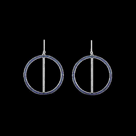 sapphire and diamond Line Hoop Earrings