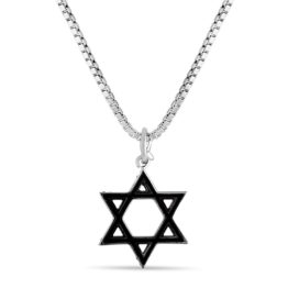 star of david necklace with black enamel designed by Brady Legler